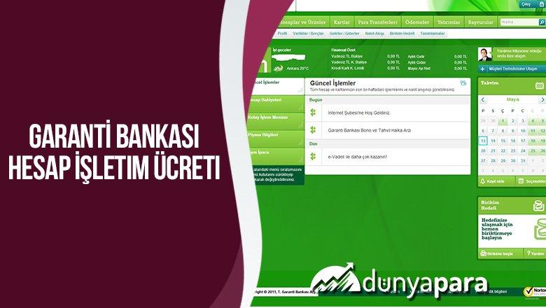 Garanti Bankası Hesap İşletim Ücreti